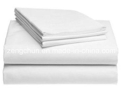 Hotel Use Polycotton White Satin Fabric Bed Sheet Set