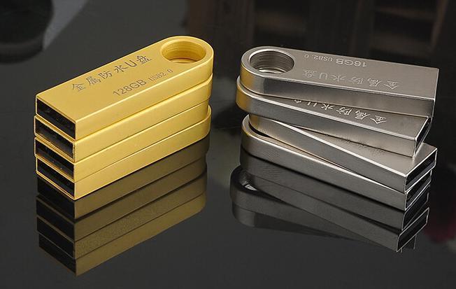 Mini USB Flash Drive White and Golden