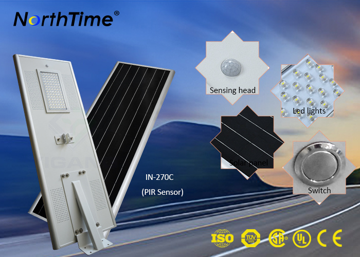 All in One Infrared Motion Sensor LED Solar Street Light 70W