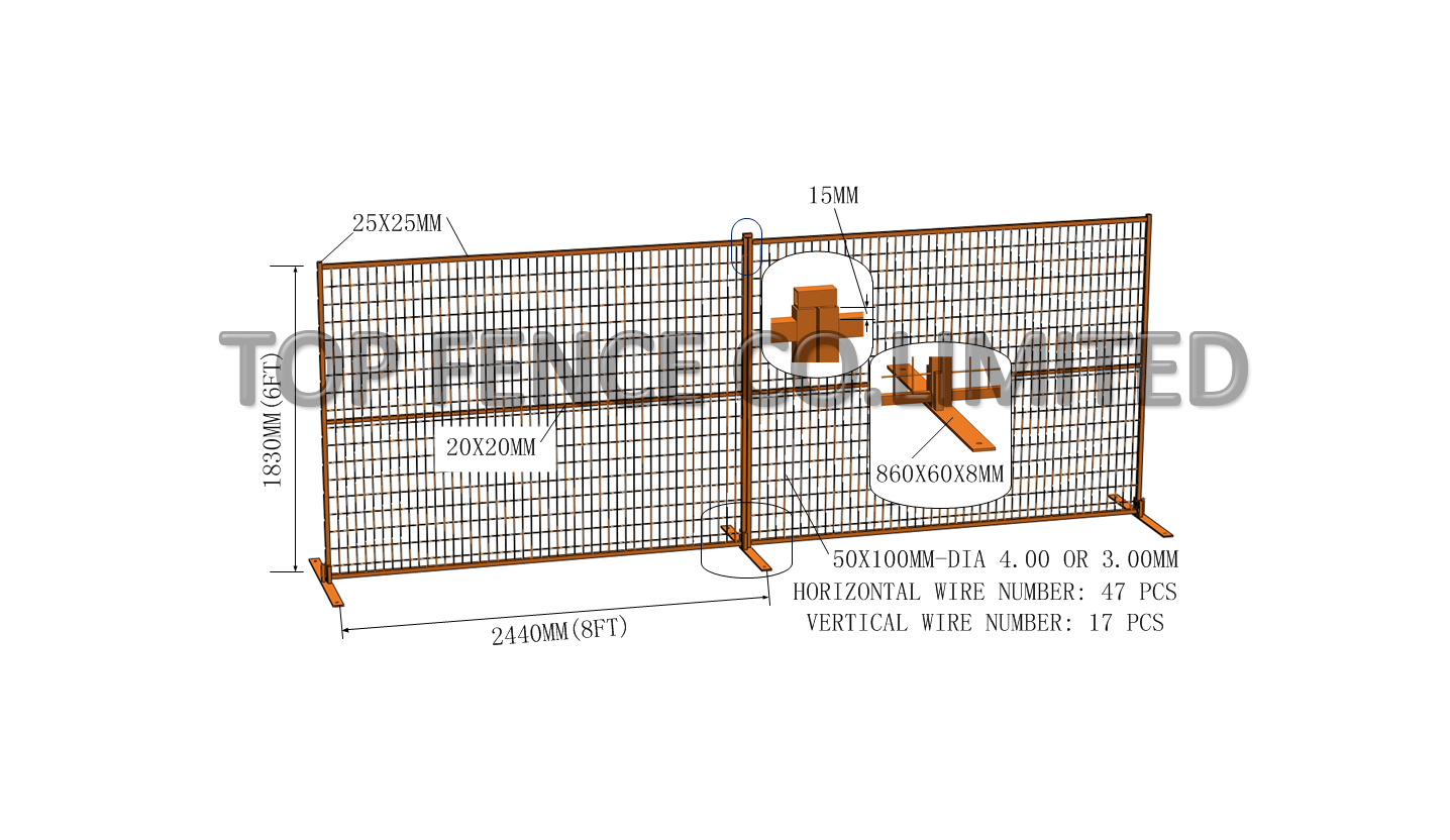 6FT X9.5FT Canadan Powder Coated Temporary Construction Fence Panels