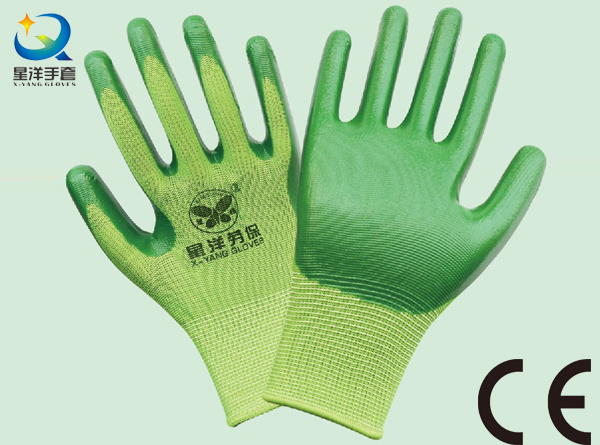 13G Nitrile Polyester Shell, Nitrile Coated Safety Work Gloves (N6006)