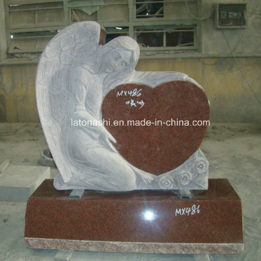 Red Granite Headstone/Monument with Angel and Heart Carving