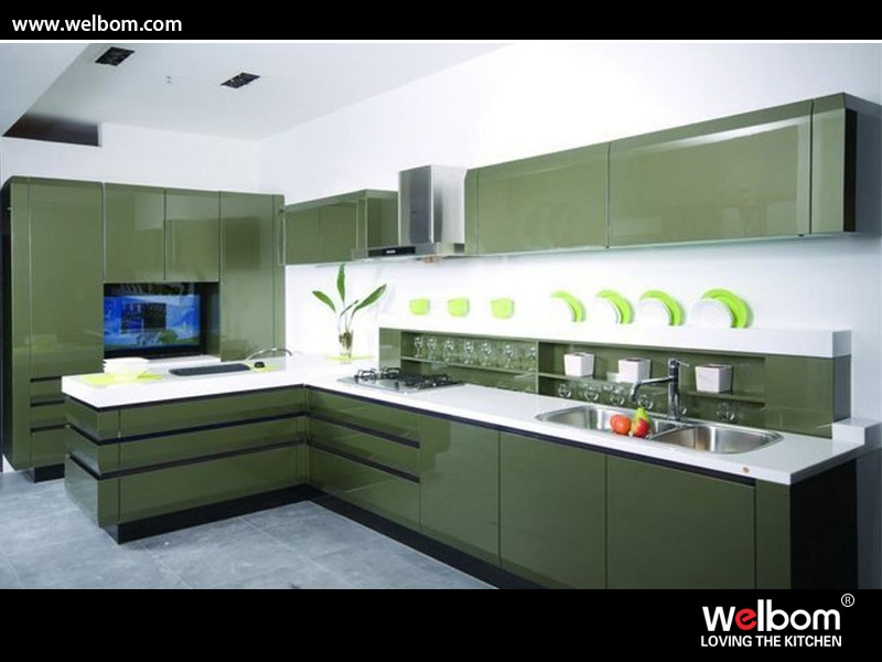 L Shape Modern High Gloss Kitchen Cabinet Design (Cadillac) photo