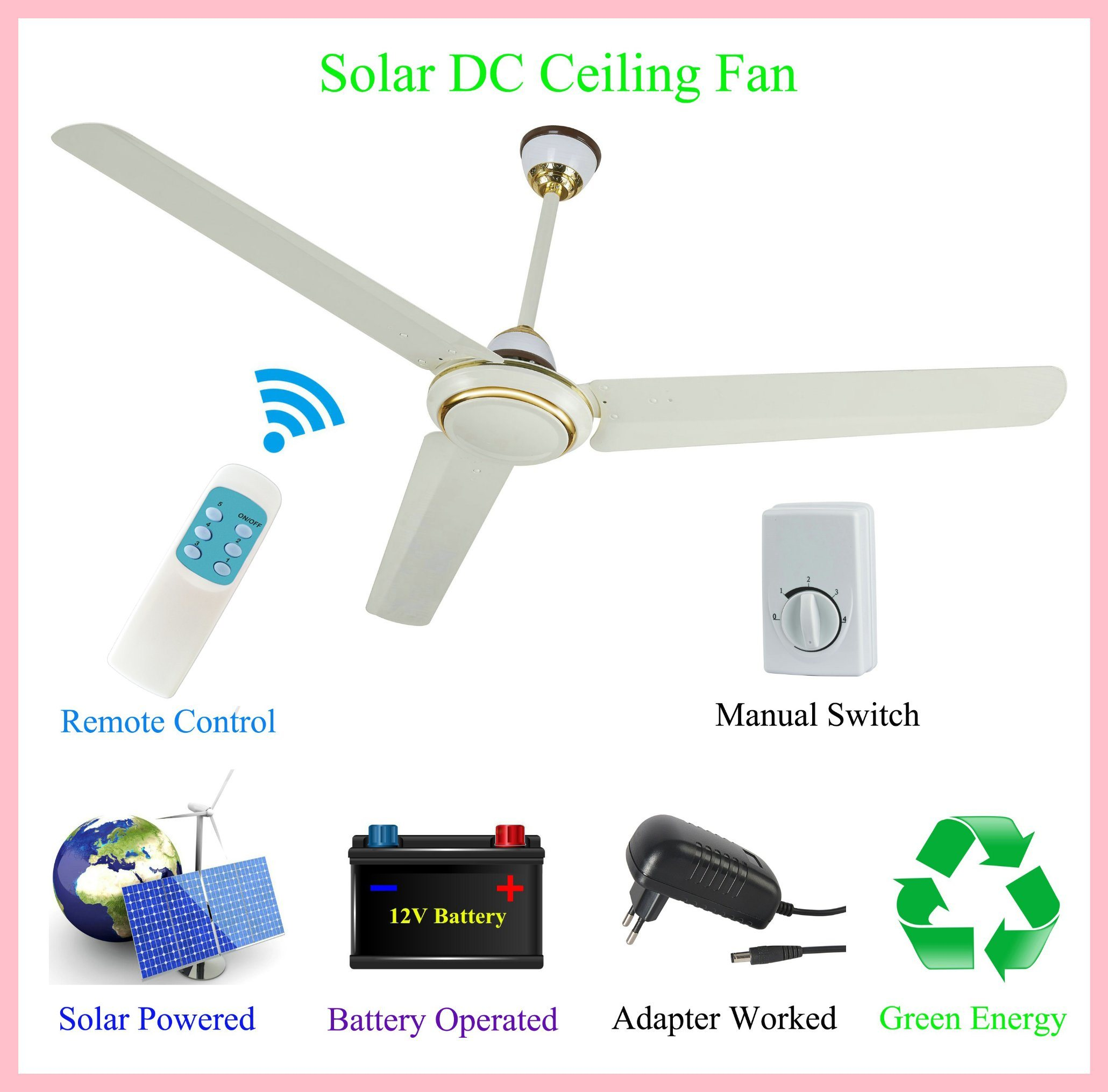 China 42W 350rpm Super Strong Wind Solar Operated and DC12V