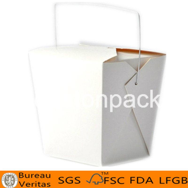 32oz White Iron Handle Disposable Paper Square Noodle Box