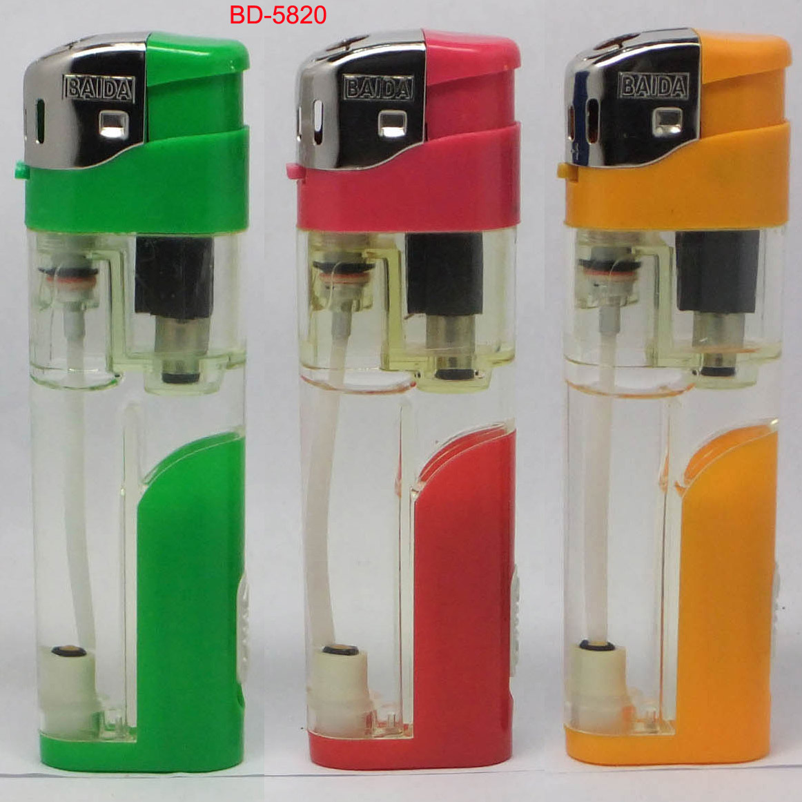 Electronic Refillable Gas Lighter With LED (BD-5820)
