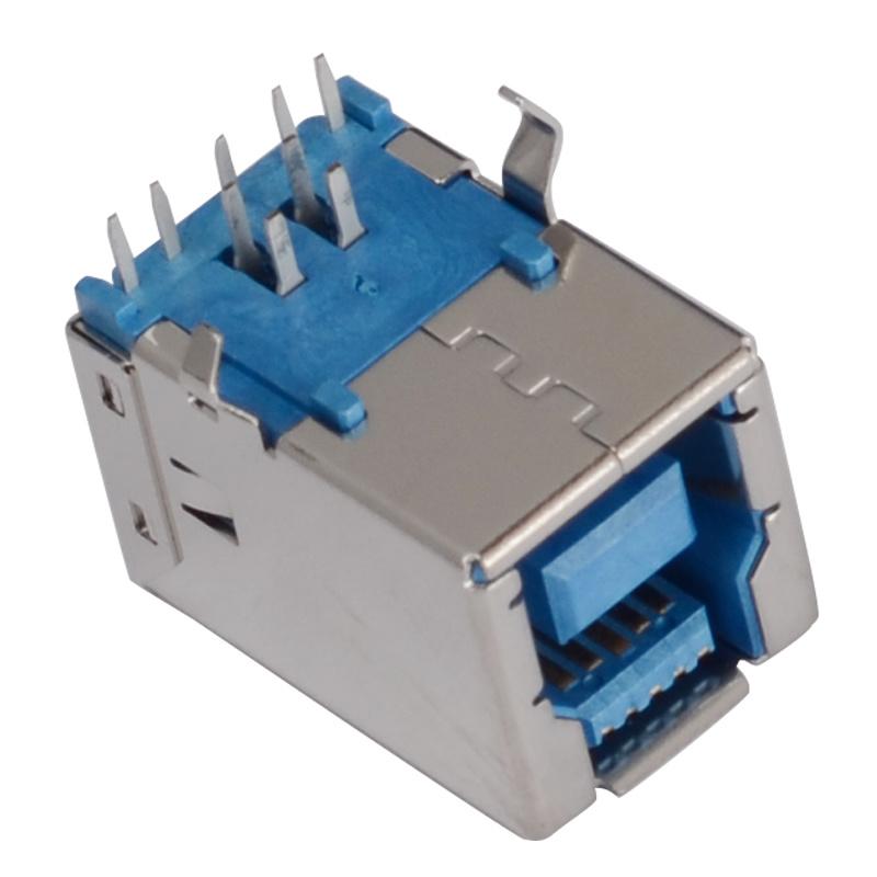 B Type Female 90degree DIP 9pin USB3.0 Connector