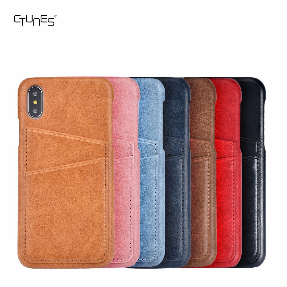 Slim Custom PU Leather Back Cell Phone Cases Cover Skin with Credit Card Holder for iPhone X