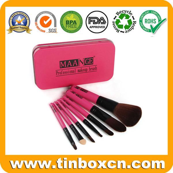 Rectangular Cosmetic Metal Tin for Makeup Brush Kit