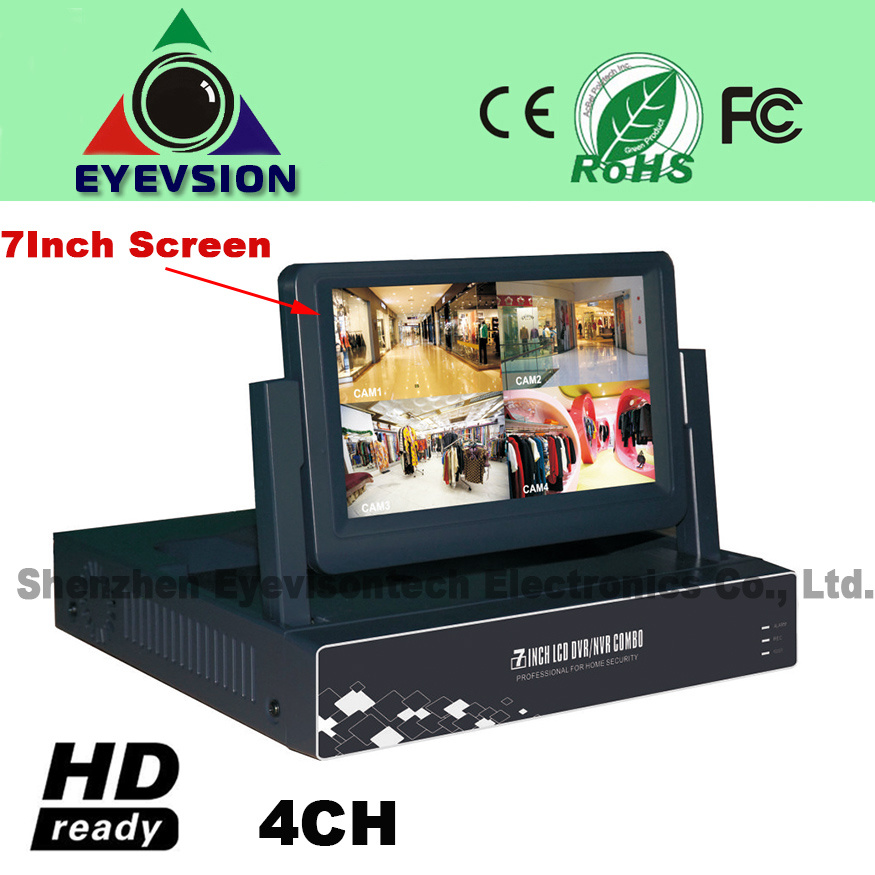 7inch LCD 4CH H. 264 Network DVR D1 Security DVR (EV-S702-4CH)