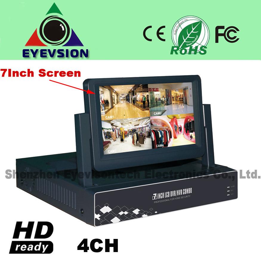 7inch LCD 4CH H. 264 Network DVR D1 Security DVR (EV-S702-4CH)