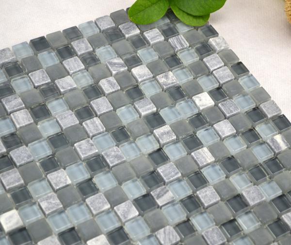 Azulejos Baño Tipo Mosaico:Mosaico de cristal gris para el azulejo del cuarto de baño (TG-LA-013