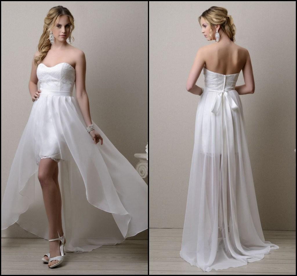 China Hi Lo Evening Prom Bridal Gowns Summer Beach Chiffon
