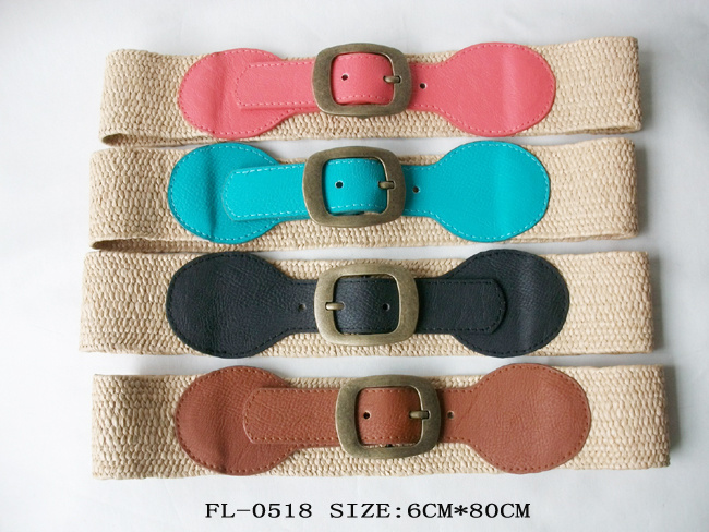 Women Fashion Straw PU Belt