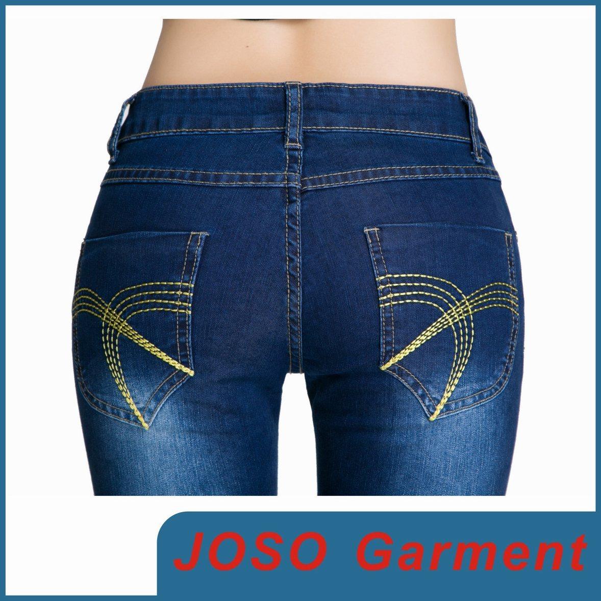 Dark Bule Cotton Spandex Skinny Women Jean (JC1050)