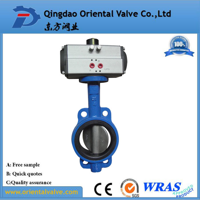 High Quality Complete Ss316 Wafer Connection Pneumatic Butterfly Valve with Actuator