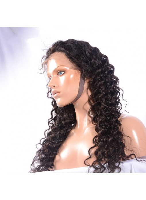 100% Virgin Human Hair Deep Wave Full Lace Wig with Band
