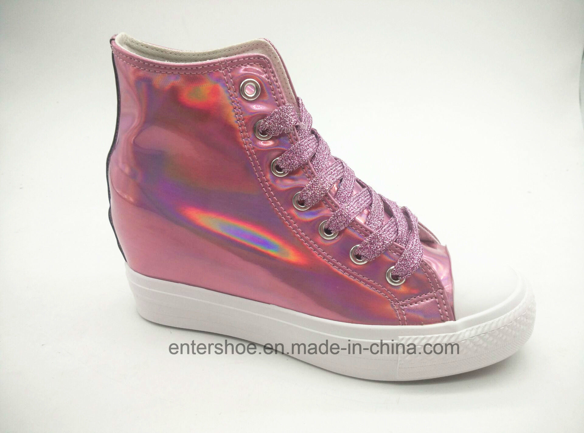 High Top Shiny PU Hight Increasing Women Shoes (ET-LD160340W)