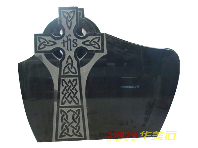 Black Granite Marble European Tombstone for Cemetery (XMJ-PL13)