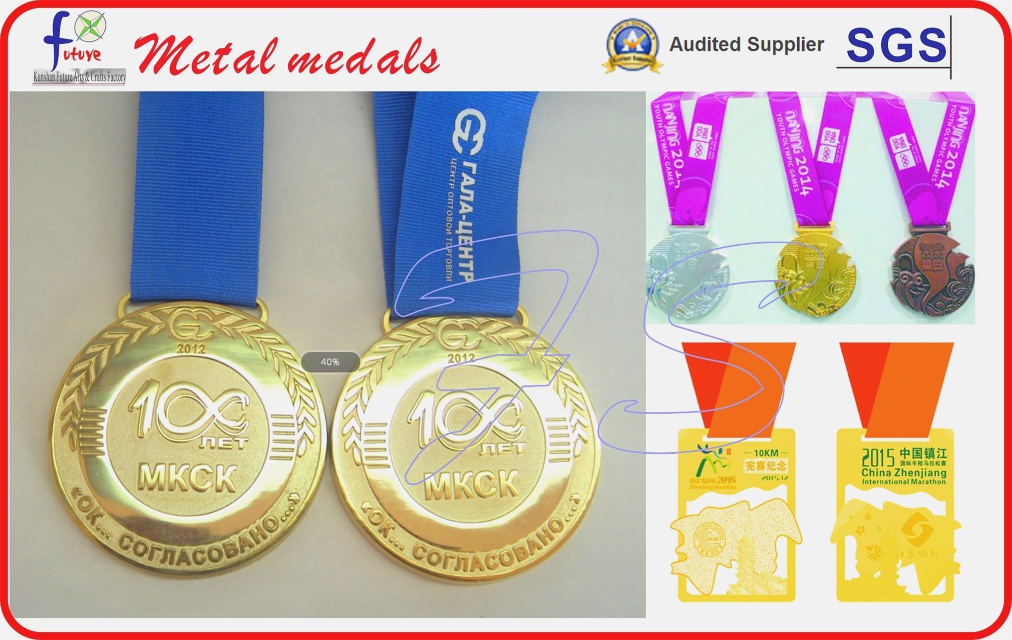 Antique Sliver Plated Soft Enamel Sport Medals