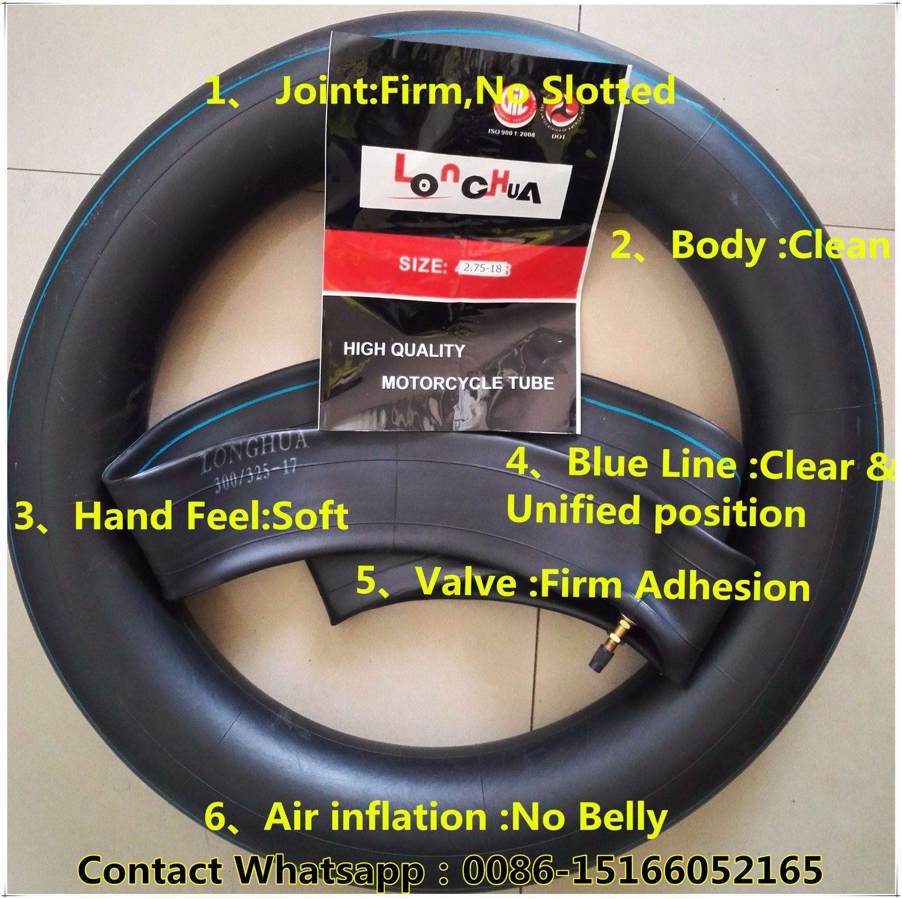 Longhua Factory Natural Butyl Rubber Motorcycle Tyre and Tube (4.00-8)