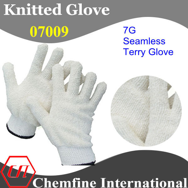 7g White Polyester/Cotton Seamless Terry Knitted Gauntlet