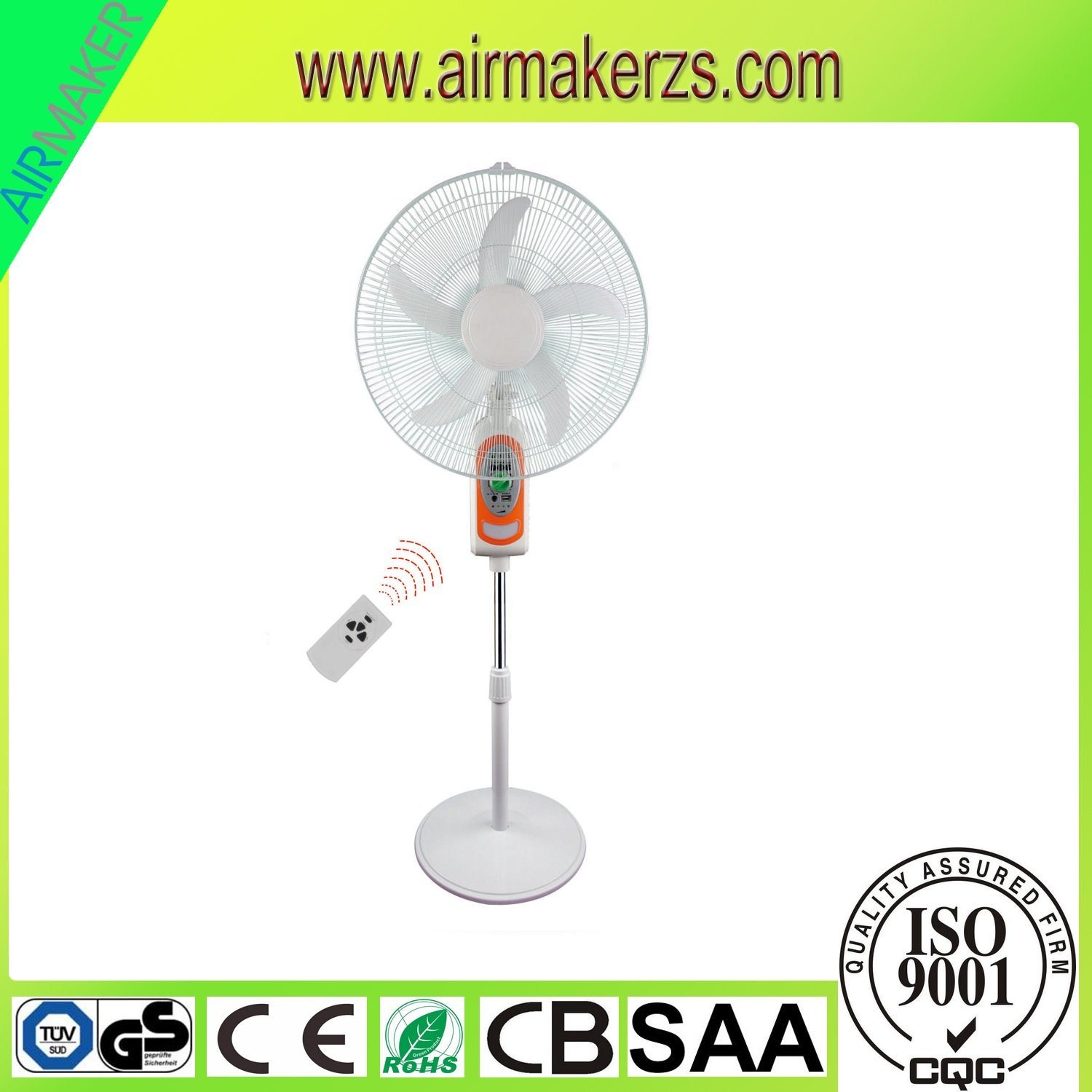 """18"""" 5 Blades AC/DC Emergency Stand Fan with Mobile Charger"""