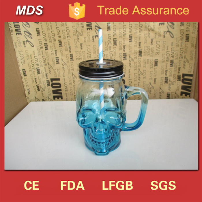 Heavy Base Skull Shaped Glass Mason Jars Drinking Mug Cup with Handle