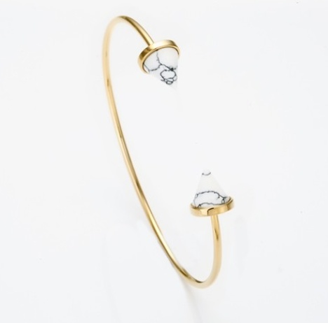 Elegant White Domed Marble Stone Open Cuff Fashion Jewelry