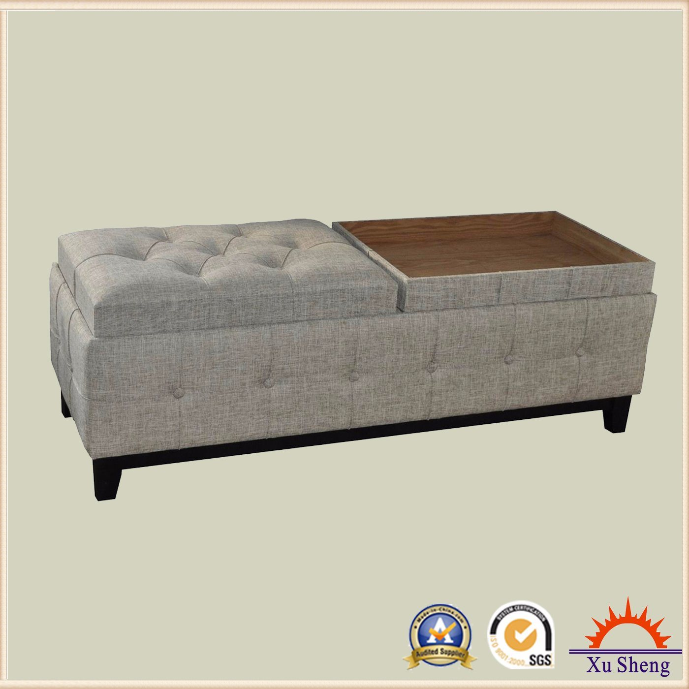 Bedroom Furniture Fabric Rectangle Tufted Storage Bed Bench Ottoman with Tray Top