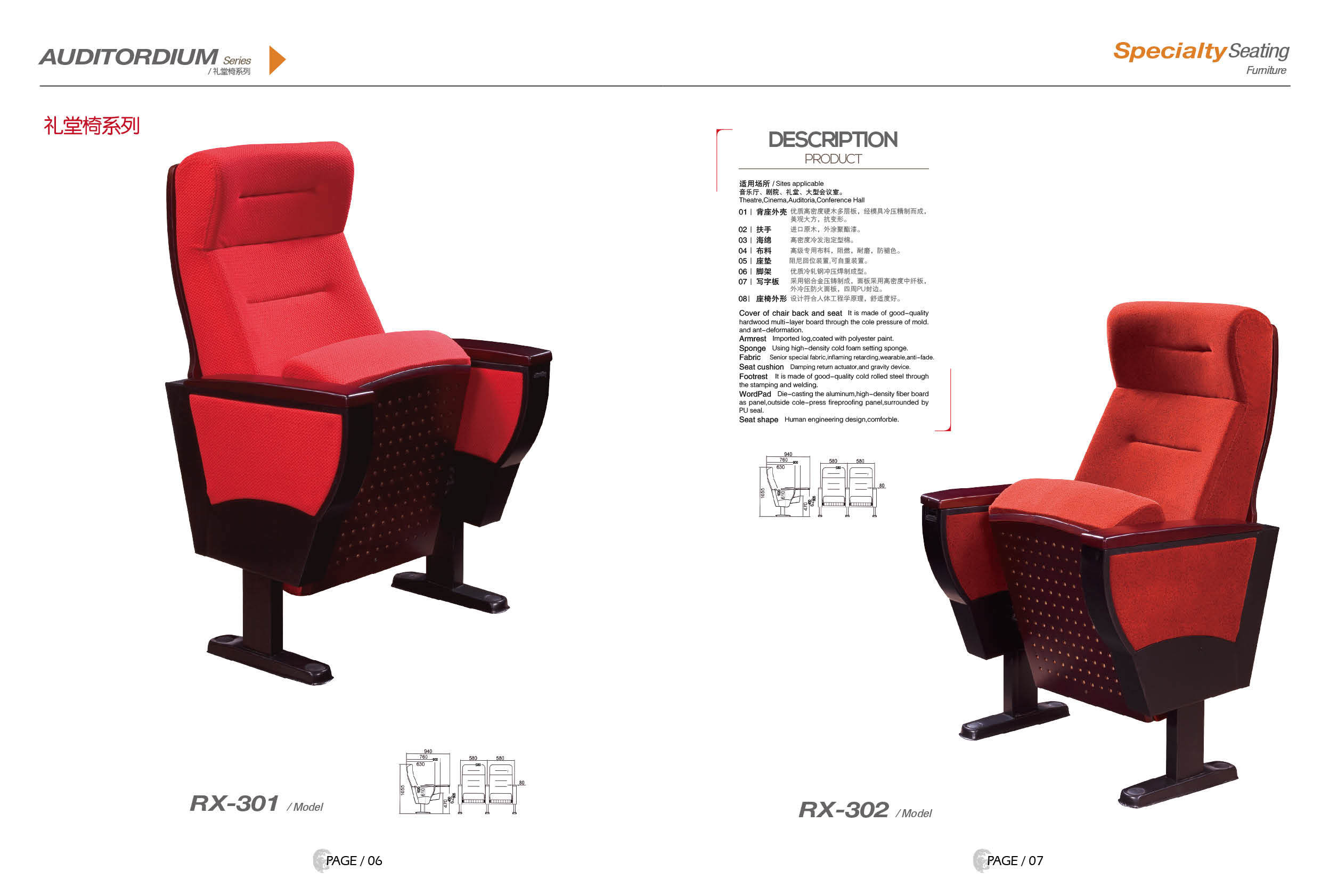 Modern Public Auditorium Chair Use for Meeting Room (RX-301)