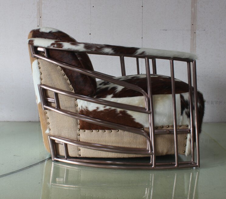 Copper Stainless Steel Tube Armrest Chair, Cowhide Leather Living Room Chair Yh-315