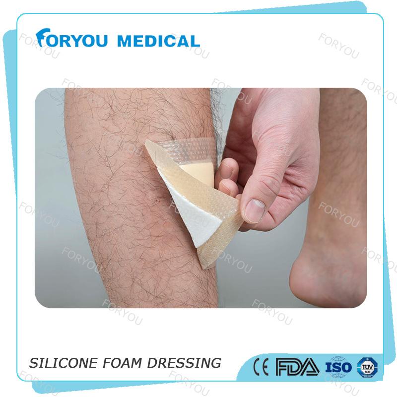 FDA 510k Diabetic Ulcer Treatment Silicone Antibacterial Foam Dressing with Border