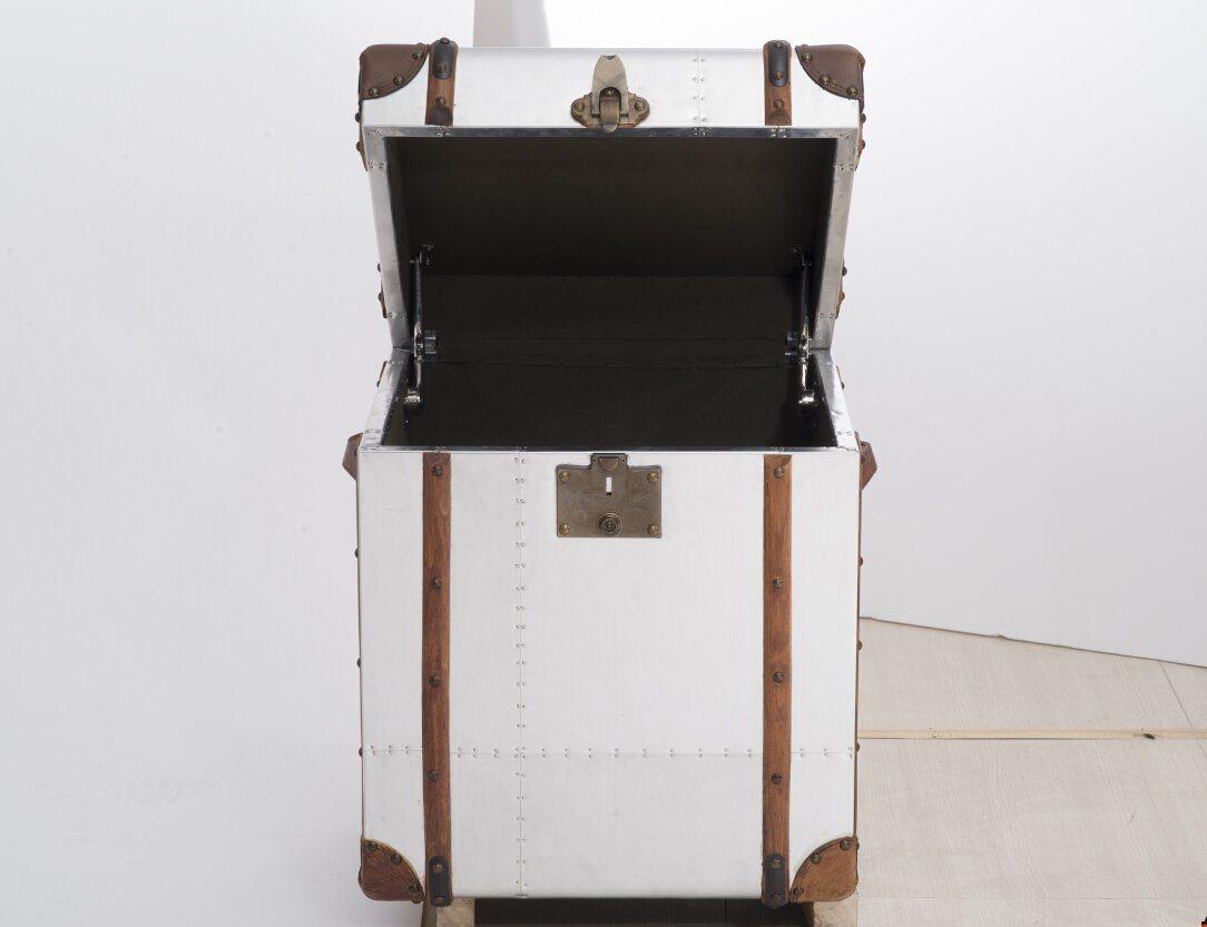 Aviator Trunk, Box, Cabinet, Antique Aluminum Side Table, Corner Table Rtk-07