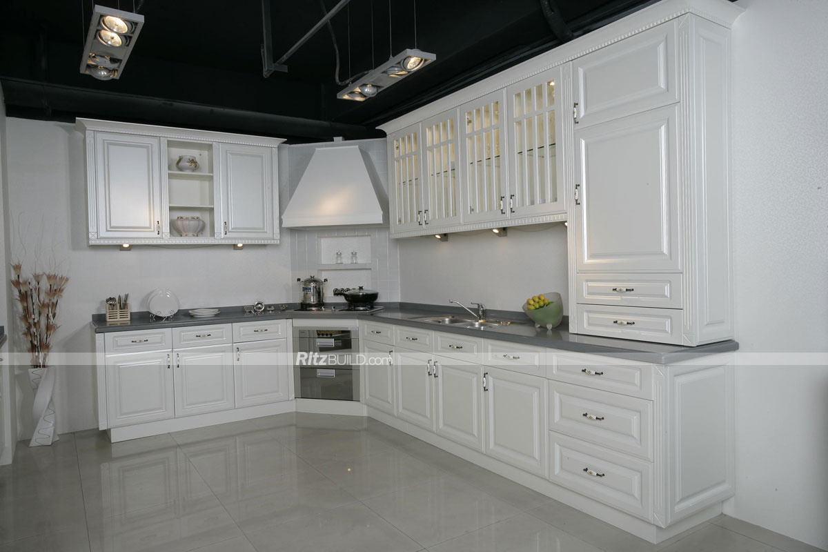 China Color Combinations Modular PVC Kitchen Cabinets - China ...