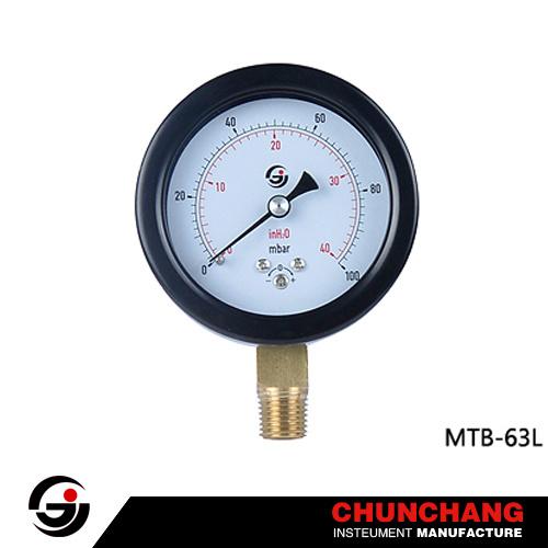 Black Steel Case Standard Capsule Pressure Gauge