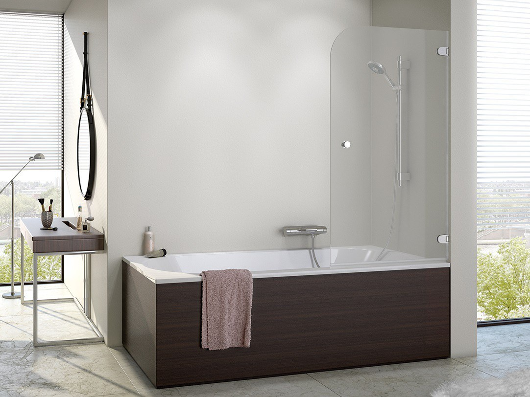 Chrome Frame Bathtub Elegant Tempered Glass Bath Screen with Hinge