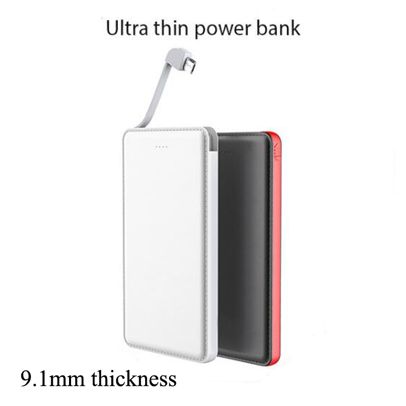 External Battery Charger Built-in Charging Cable 5000mAh Slim Power Bank