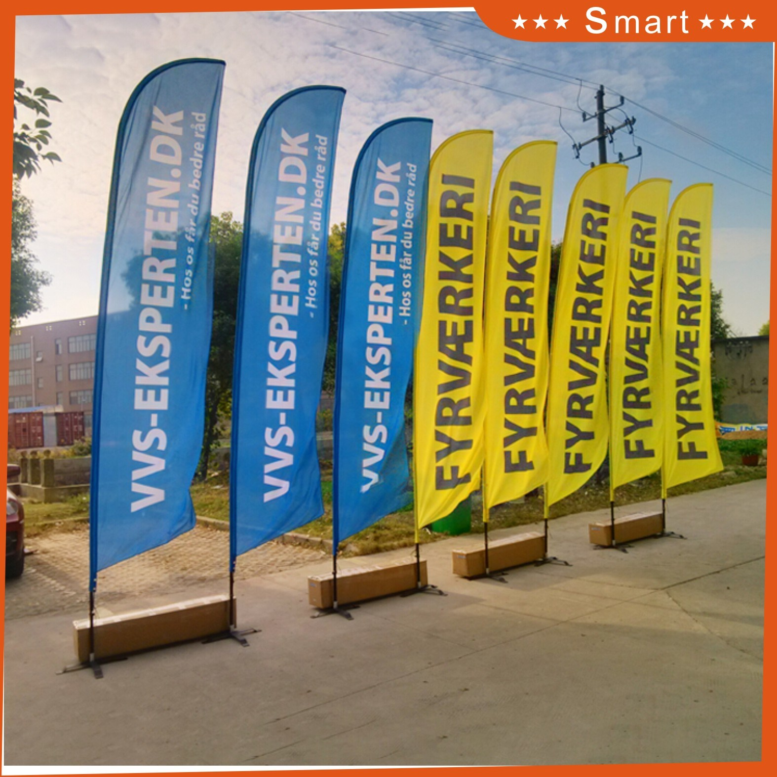 Hot Sale Digital Printing Feather Flag with Red Yellow Blue