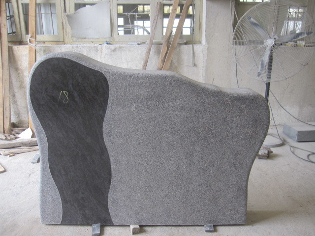 Vizag Blue, Aurora Granite Monument/Tombstone with Sculpture