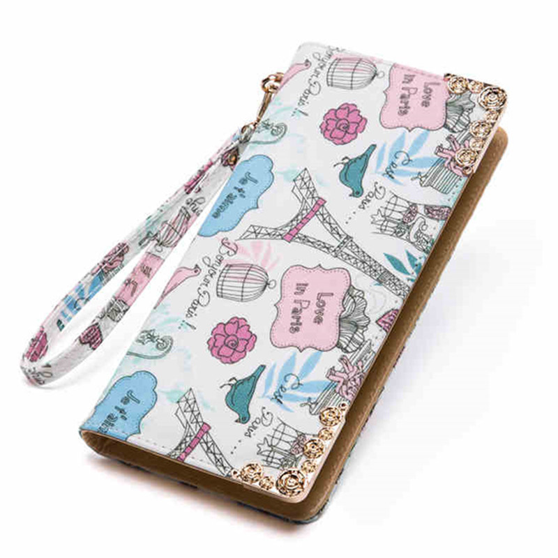 Fashion Customized Printed PU Leather Passport Holer Wallet for Women