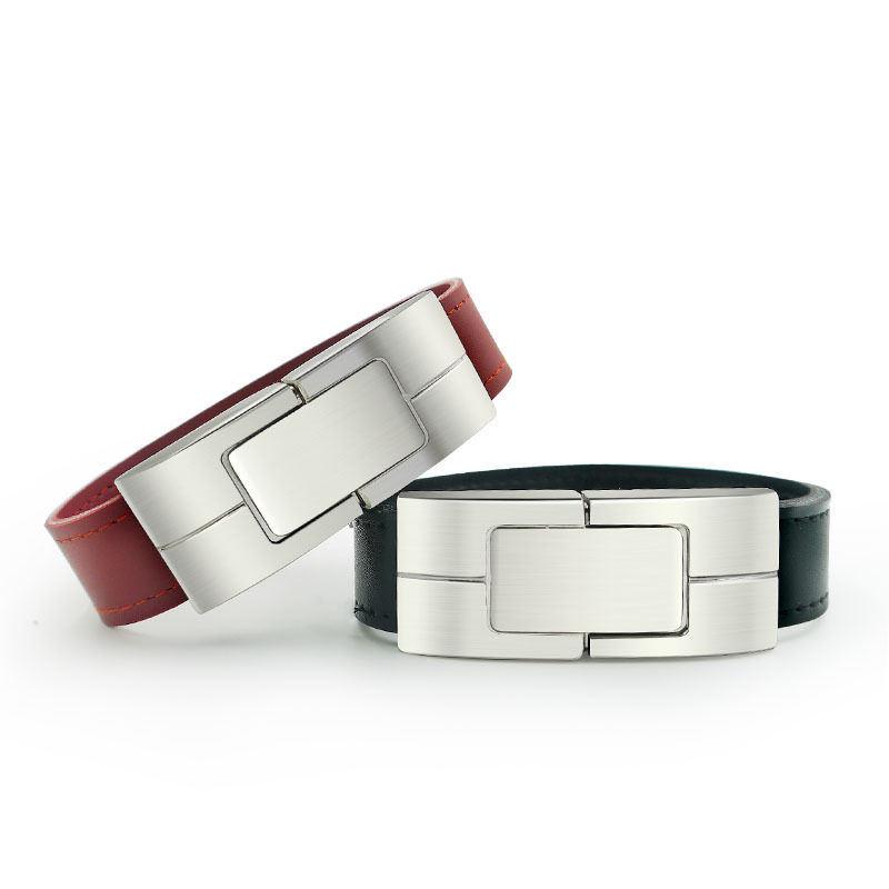 Customized Logo Promotional Gift Leather USB Flash Drive Bracelet Wristbands