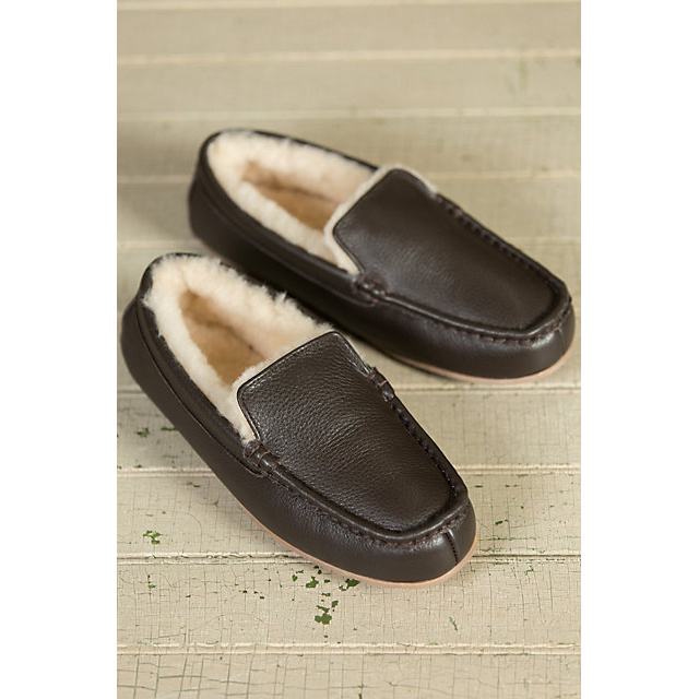 Men′s Genuine Leather Sheepskin Moccasin Slippers