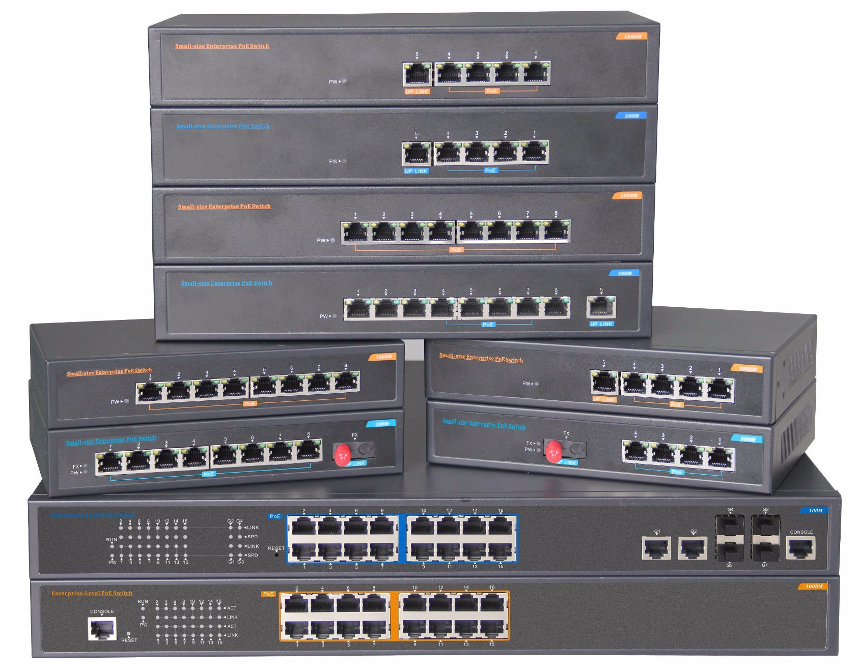 24 Port Managed Poe Fiber Ethernet Network Switch 15.4W