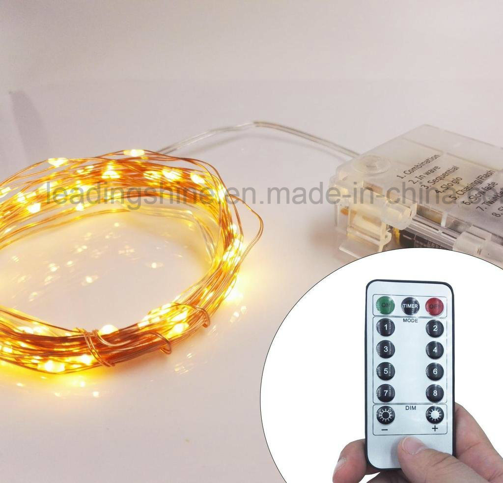 Remote Control Warm White Copper Silver Wirefairy Lights Waterproof Ultra Thin Fairy Light Set for Home Bedroom Wedding Ceremony Decoration