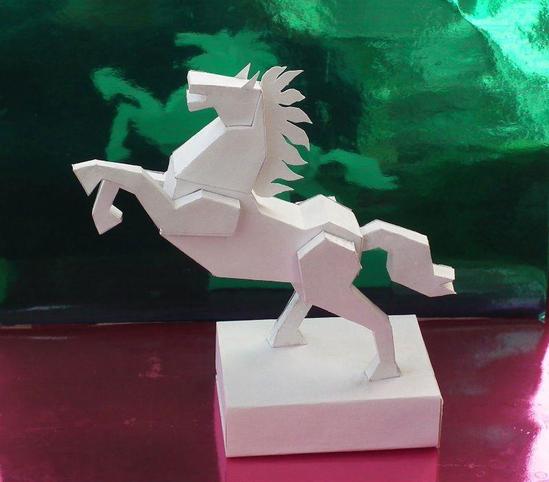 Как сделать из бумаги объёмную лошадь