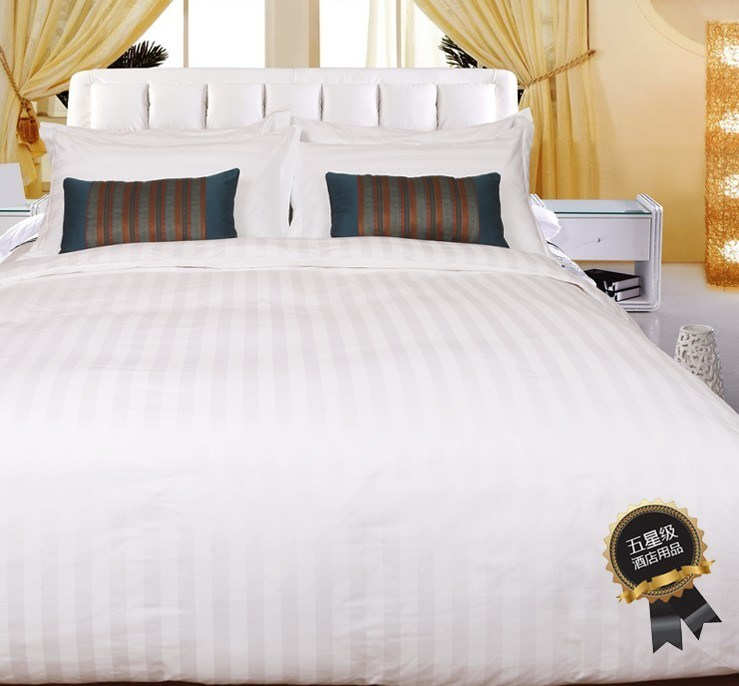 White Satin Stripe Bedding Set for Hotel