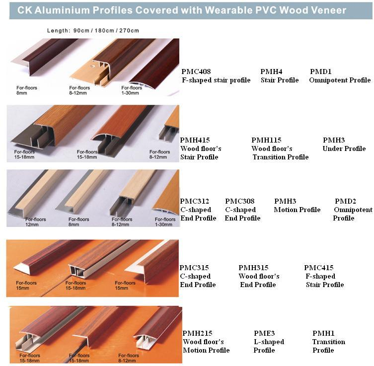Aluminium profiles covered with wearable pvc wood veneer