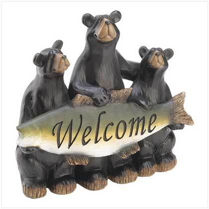 Black Bears Holding Fish with Welcome Sign