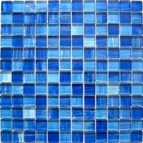 blue crystal glass mosaic tiles
